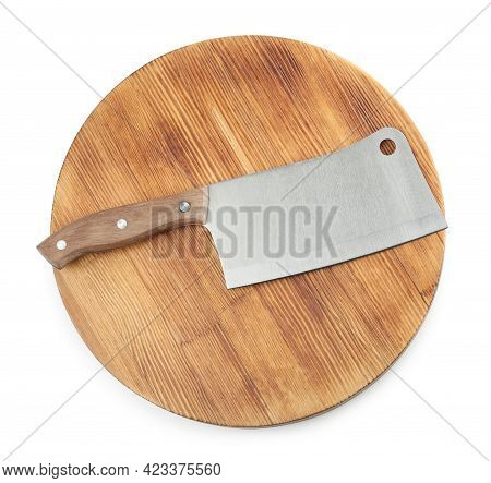 Large Sharp Cleaver Knife With Wooden Board Isolated On White, Top View