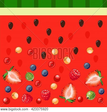 Mix Of Berries On A Background Of Watermelon Pulp. Strawberries, Blueberries, Gooseberries And Berri