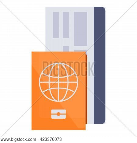 Passport And Air Ticket Icon. Cartoon Of Passport And Air Ticket Vector Icon For Web Design Isolated
