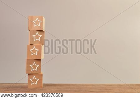 Wooden Cube Blocks With Stars. Excellent Business Services Rating Customer Experience Concept.