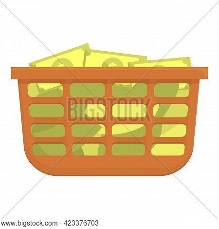 Cash Basket Anti-money Laundry Icon. Cartoon Of Cash Basket Anti-money Laundry Vector Icon For Web D
