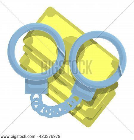 Handcuffs Anti-money Laundry Icon. Cartoon Of Handcuffs Anti-money Laundry Vector Icon For Web Desig