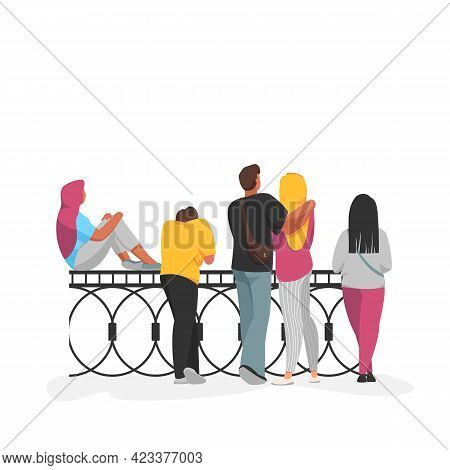 People. Vector Image Of A Group Of People. Rear View. People Are Standing On The Bridge