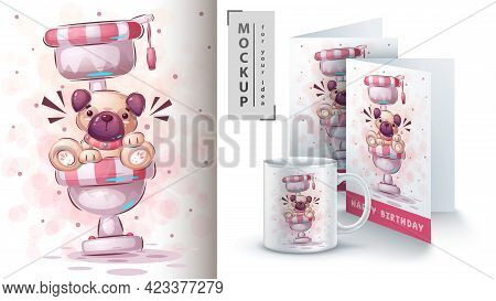 Toilet Dog - Poster And Merchandising. Vector Eps 10