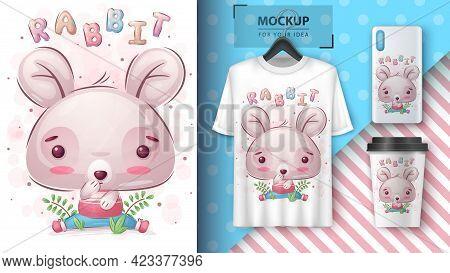 Cute Rabbit - Poster And Merchandising. Vector Eps 10