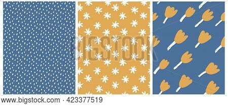 Ute Hand Drawn Floral And Geometric Seamless Vector Patterns. White Daisies And Gold Tulips Isolated