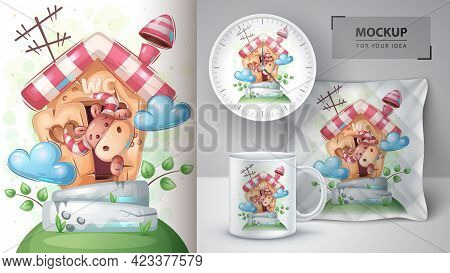 Cute Box On Toilet Poster And Merchandising. Vector Eps 10