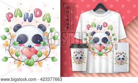 Panda With Heart Poster And Merchandising. Vector Eps 10