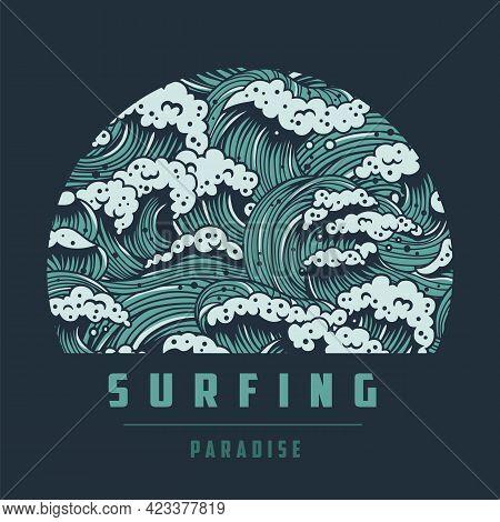 Surfing Paradise. Hawaii Marine Wave With Foam