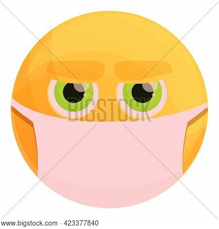 Masked Emoticon Icon. Cartoon Of Masked Emoticon Vector Icon For Web Design Isolated On White Backgr