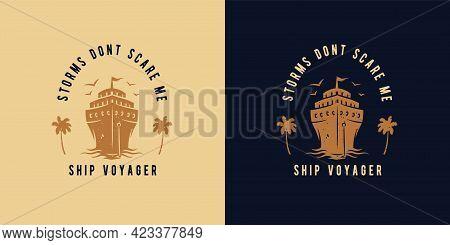 Cruiser Wanderer. Nautical, Marine Ship For Print