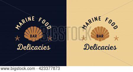 Seashell Print. Marine Ocean Delicacy Seafood Logo