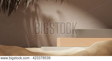 3d Background, Beige Podium Display, Palm Leaf Shadow And Sand. Cosmetic, Beauty Product Promotion M