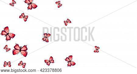 Magic Red Butterflies Cartoon Vector Wallpaper. Summer Pretty Moths. Simple Butterflies Cartoon Kids