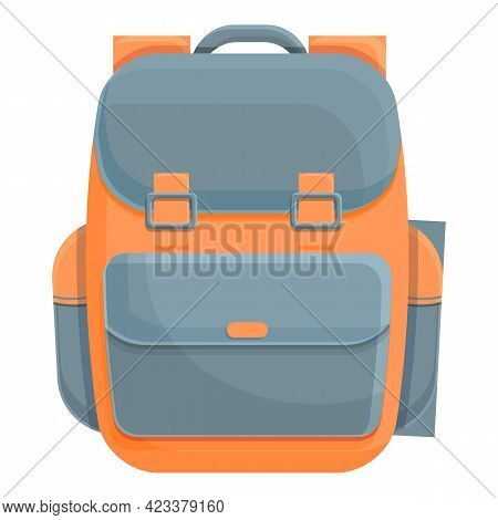 Hiking Backpack Icon. Cartoon Of Hiking Backpack Vector Icon For Web Design Isolated On White Backgr