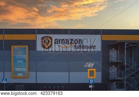 Poland, Sady - Jun 05, 2021: Sign Amazon Logistics Center In Sady.