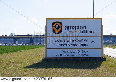 Poland, Sady - May 05, 2021:: Amazon Logistics Center In Sady,