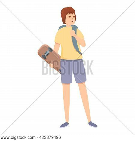 Boy With Skate Icon. Cartoon Of Boy With Skate Vector Icon For Web Design Isolated On White Backgrou