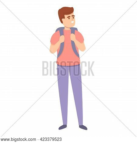Boy With Backpack Icon. Cartoon Of Boy With Backpack Vector Icon For Web Design Isolated On White Ba