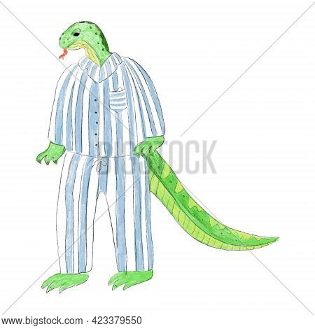 A Lizard In Pajamas. A Hand Drawn Lizard Is Standing In A Pair Of Striped Sleeping Pajamas
