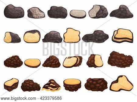 Truffle Icons Set. Cartoon Set Of Truffle Vector Icons For Web Design