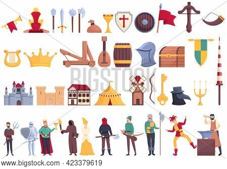Medieval Icons Set. Cartoon Set Of Medieval Vector Icons For Web Design