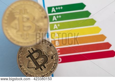 Bitcoin Cryptocurrency Gold Coin With An Energy Efficiency Rating Chart