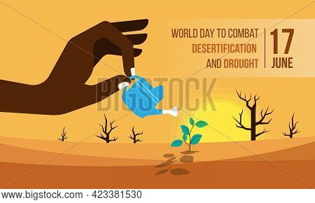 World Day To Combat Desertification And Drought Banner With Hand Holding A Watering Pot , Watering T