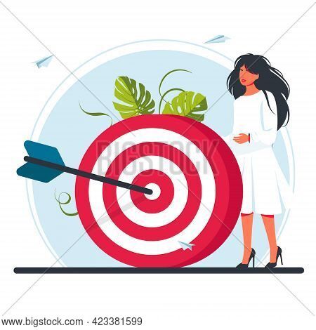 Red Dartboard. Business Vision, Big Target, Run To Their Goal, Vector Illustration For Web Banner, I