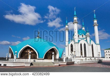 Souvenir Pavilion (left) & Kul Sharif Mosque (background), Kazan, Russia. This Is One Of Most Popula