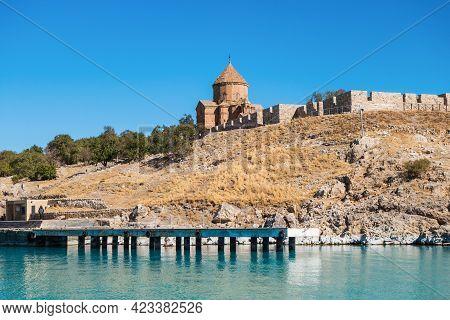 Cathedral Of Holy Cross & Wharf For Tourist Boats On Akdamar Island, Van Lake, Gevaş, Turkey. It's P