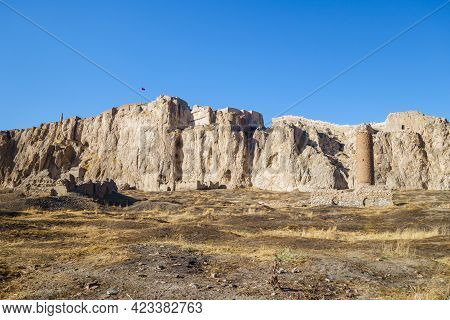 Remains Of Medieval Buildings In Old City Of Van, Including Seljuk Mosque With Minaret, Van, Turkey.
