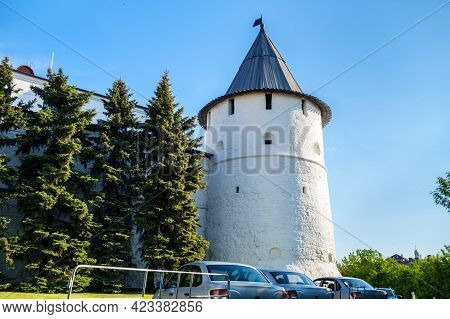 Southeast Round Tower Of Kazan Kremlin, Example Of Traditional Medieval Russian Architecture. As All