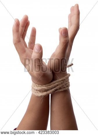 Person Hands Tied With Rope Isolated On White Background, Captive Victim Restrained Concept