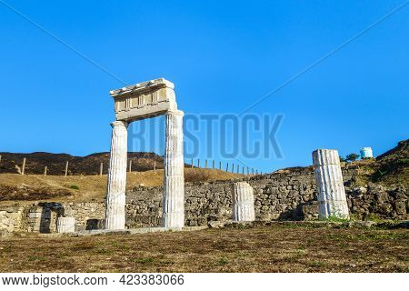 Close View Onto Colonnade Of Antique City Panticapaeum, Kerch, Crimea. These Columns Are Most Recogn