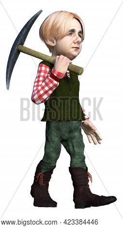 3d Rendering Of A Fantasy Dwarf Holding An Iron Pick Axe With A Wooden Handle Isolated On White Back