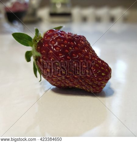 Large Red Juicy Strawberry, Very Tasty, On The Table.