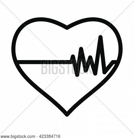 Icon Of Heart With Cardio Diagram. Bold Outline Design With Editable Stroke Width. Vector Illustrati