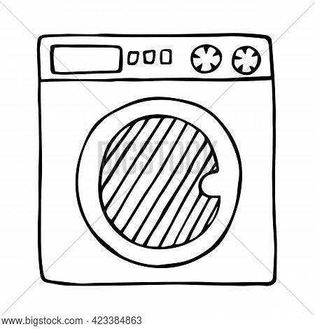 Washing Machine, Black Outline Sketch Isolated On White Background. Household Appliance. Hand Drawn