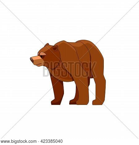 Bear Looking And Walking. Cartoon Character Of Big Mammal Animal. Wild Forest Creature With Brown Fu