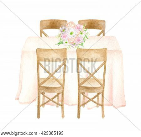 Watercolor Wedding Guest Table With Elegant Flower Bouquet Isolated On White. Hand Drawn Draped Tabl