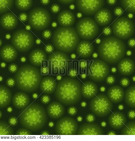 Virus Cell Seamless Pattern, Poisonous Green Luminous Molecules On Dark Background. Close-up Coronav