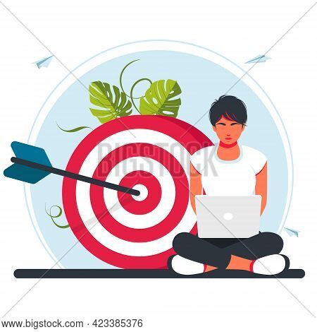 Character Working At Laptop In Lotus Position, Sitting At A Target. Move Up Motivation, Path To The