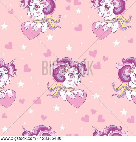 Seamless Pattern With Cute Unicorn And Hearts On Pink Background. Valentines Day, Mothers Day And Lo