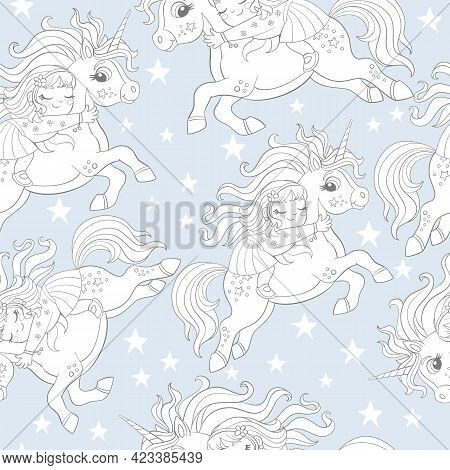 Seamless Pattern With Sleeping Girl Riding A Cute Unicorn Flying In The Sky With Stars On Blue Backg