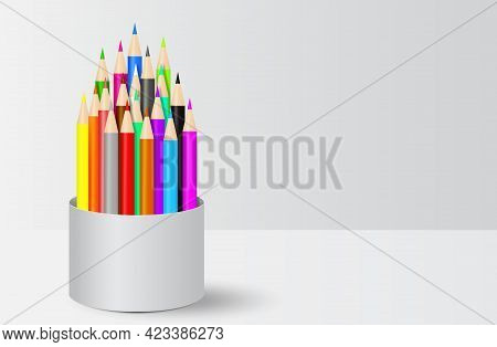 Colorful Crayon Colored Pencils In Cup Holder Vector Illustration