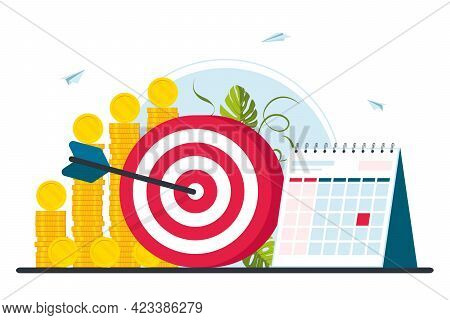 A Concept Of Exceeding Targets, Business Strategy, Achievement And Goals. Business Goal Achievement