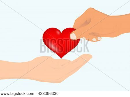 Hand Giving Heart To The Other Hand, Charity And Donation Concept Vector Illustration