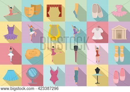 Ballet Icons Set. Flat Set Of Ballet Vector Icons For Web Design
