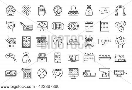 Lottery Icons Set. Outline Set Of Lottery Vector Icons For Web Design Isolated On White Background